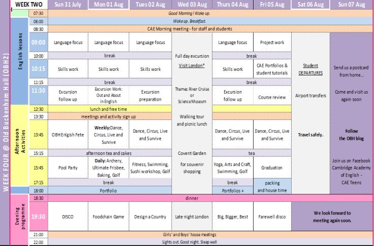 OBH2 week 2 programme