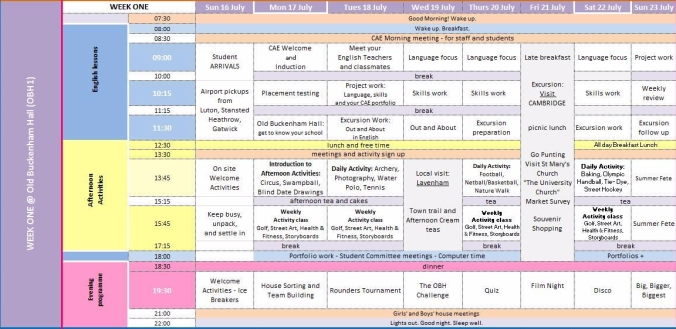 week 1 timetable OBH for blog