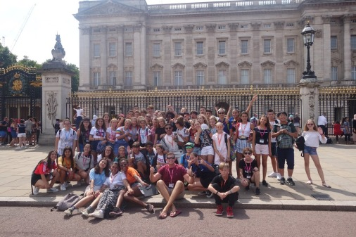 Everyone outside Buckingham Palace